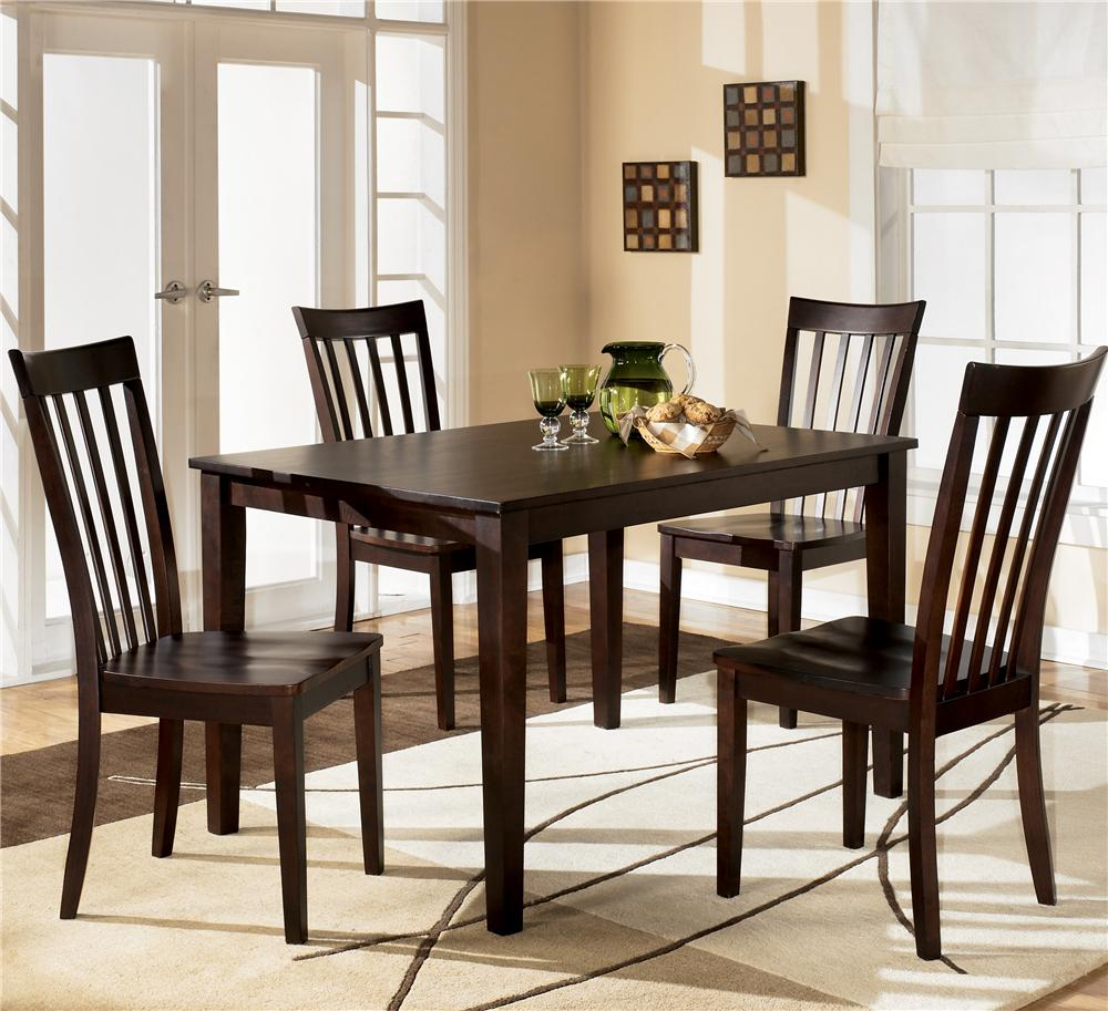 wood kitchen table sets Ashley Furniture Hyland Rectangular Dining Table with 4 Chairs Item Number D