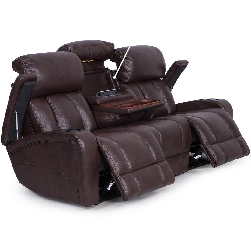 Synergy Home Furnishings 417 Casual Power Reclining Sofa  Item Number  41752PWR Recliner With Cup Holder And Storage L3