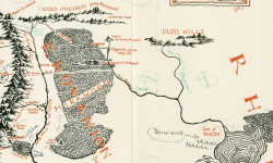 Middle Earth map annotated by J.R.R. found in a book