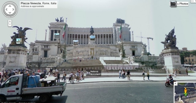 Google Maps Update Zooms From Satellite View To Street View Google Street View  Monument to Vittorio Emanuele II