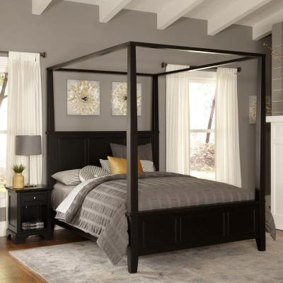 Home Styles Bedford Black Queen Canopy Bed-5531-510 - The Home Depot