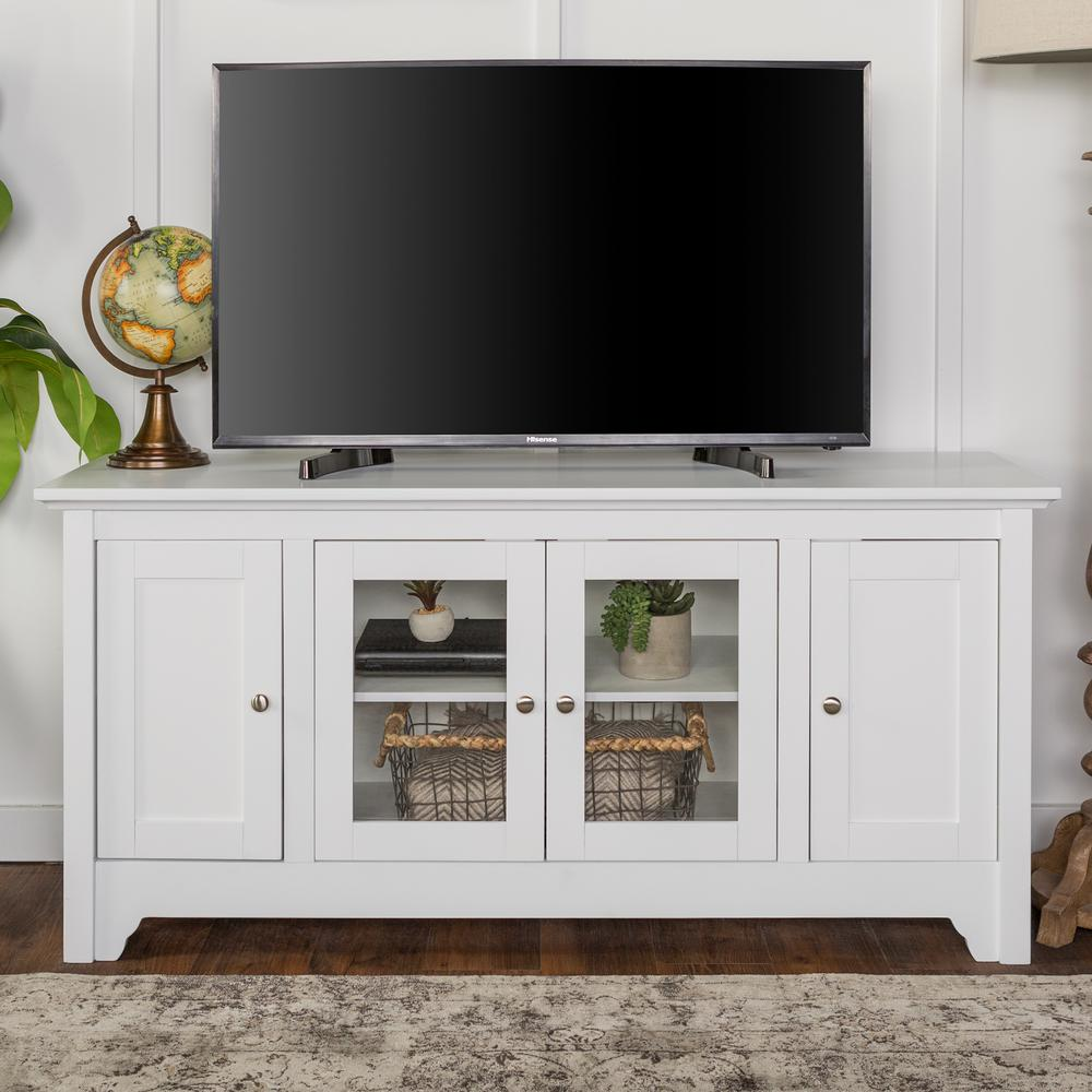 Walker Edison Furniture Company 52 In White Wood TV Media Stand Storage  Console White And Wood Tv Stand The Home Depot53