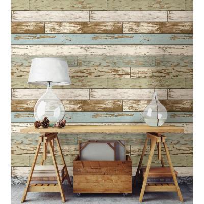 NuWallpaper Multi Color Old Salem Vintage Wood Peel and Stick Wallpaper-NU2188 - The Home Depot