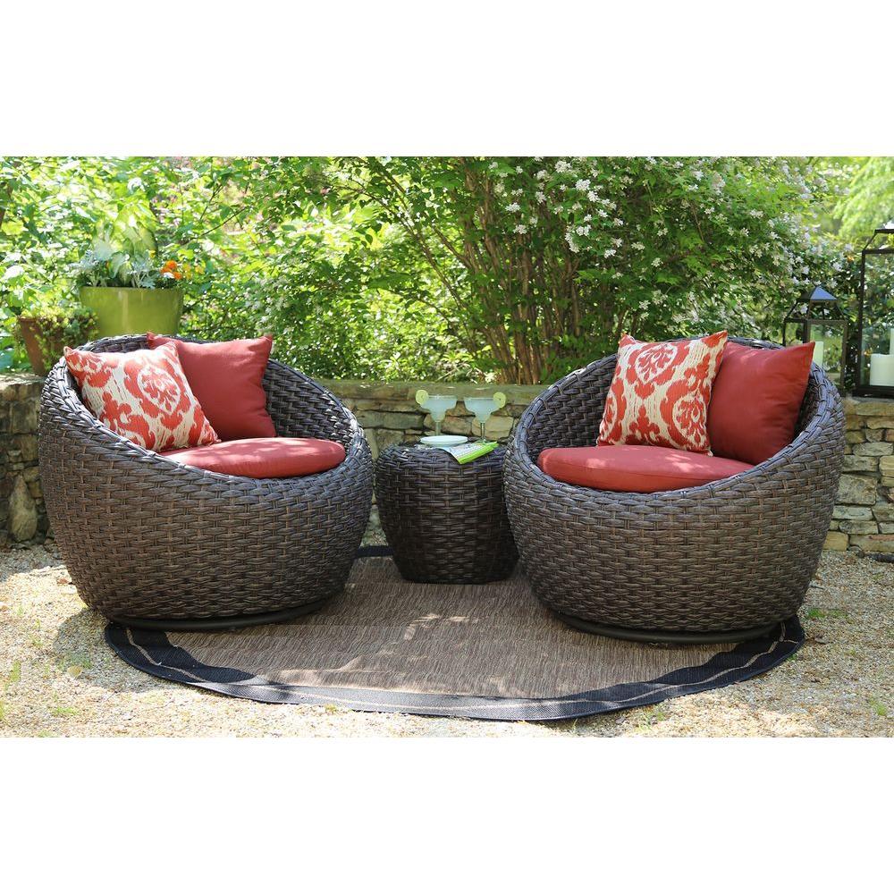 I Corona 3Piece AllWeather Wicker Patio Deep Seating Set With Sunbrella Red  Cushions