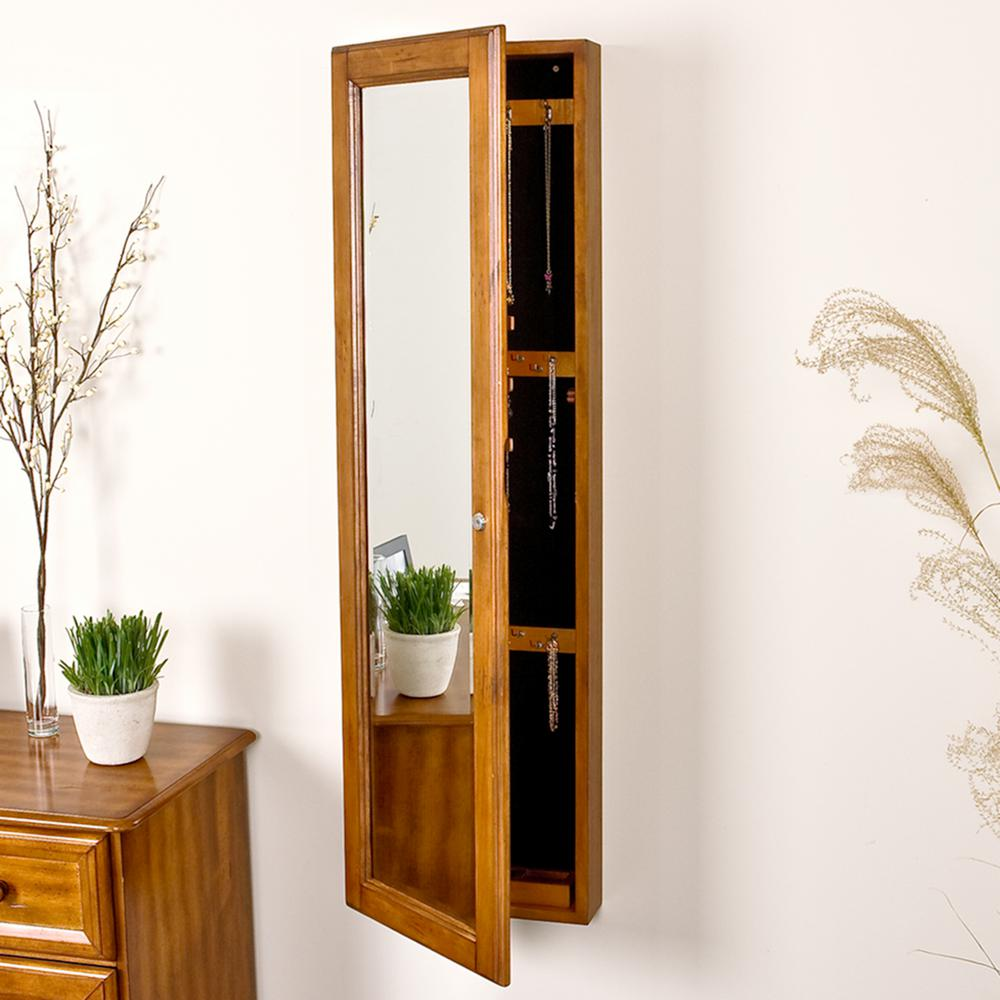 Southern Enterprises 4814 In X 1412 WallMounted Jewelry Armoire  With Mirror In Plantation OakVM5064  The Home Depot Wall Mounted Jewelry Cabinet T36