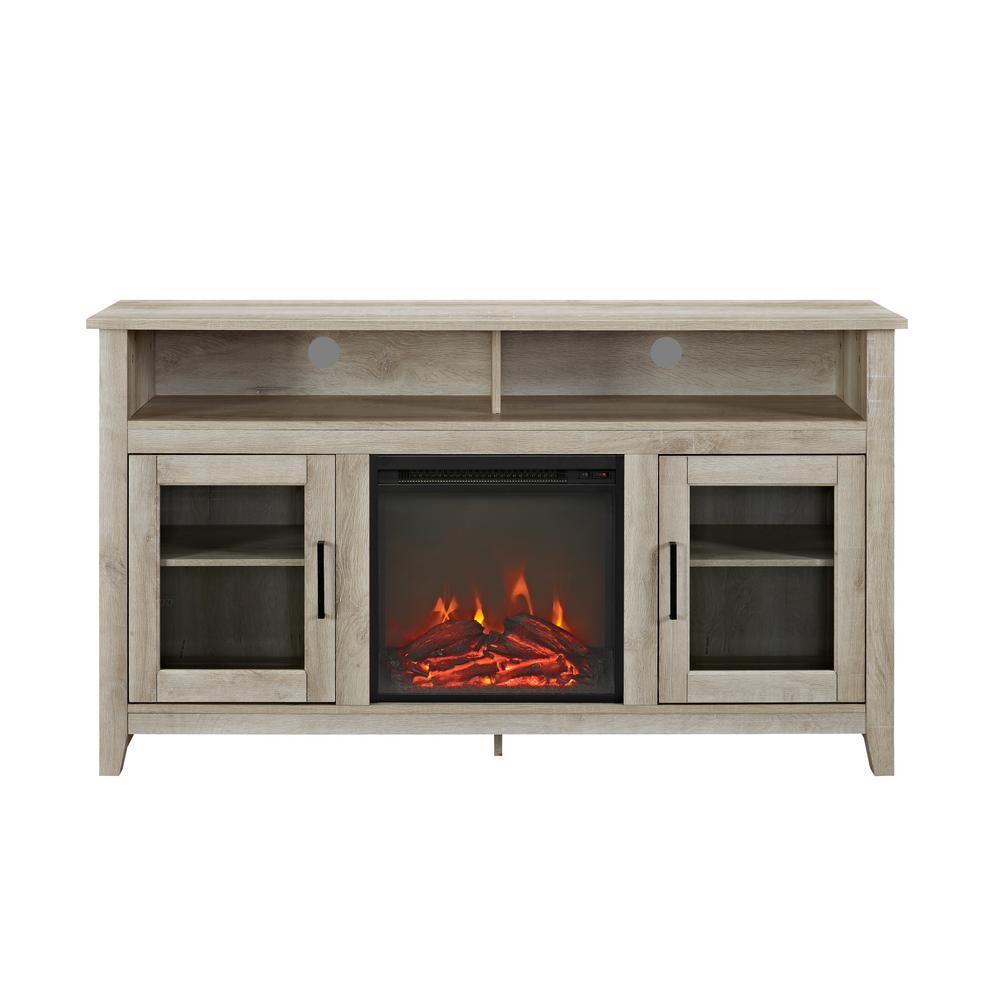 G White Oak Console Wood Highboy Fireplace Media TV Stand