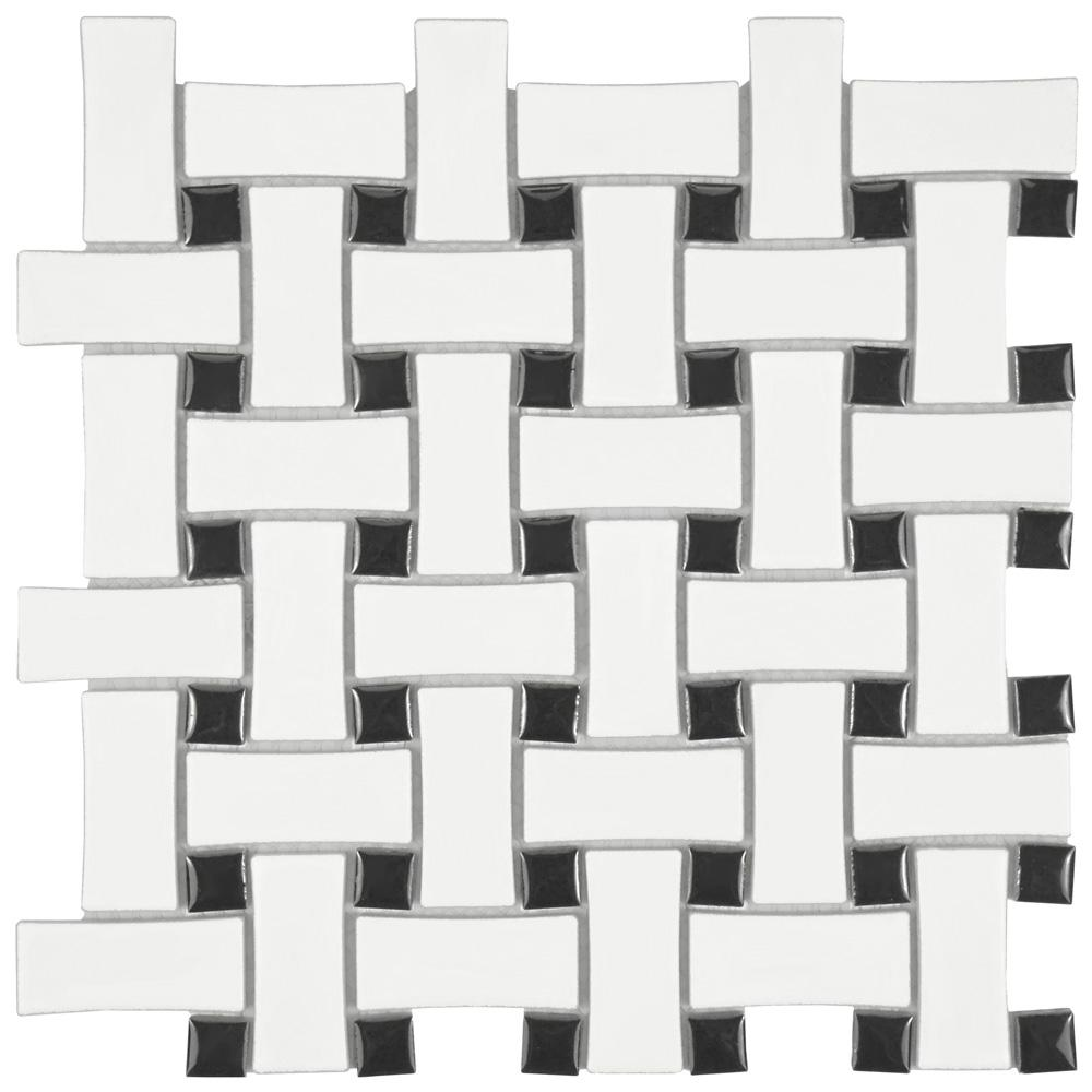 Home Depot Merola Tile Metro Basket Weave Matte White And Black 1012 In