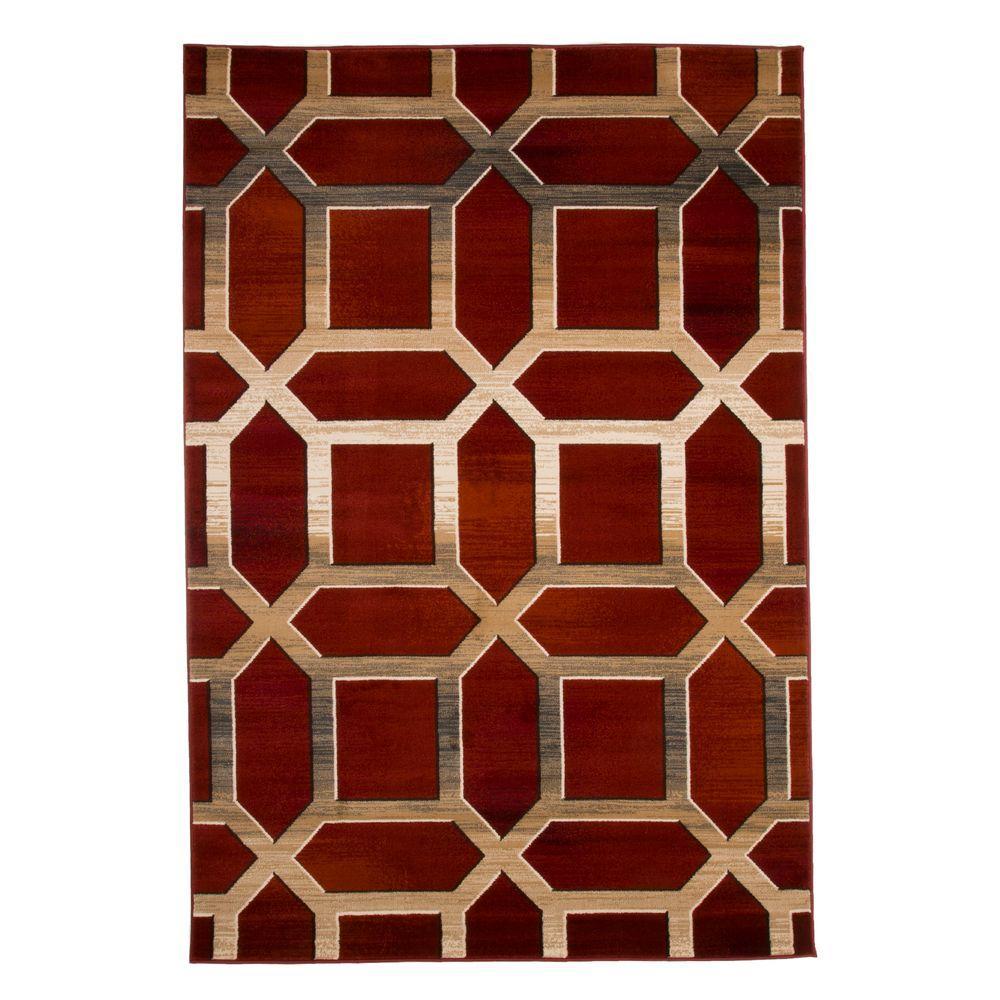 Home Depot Lavish Opus Art Deco Burgundy 8 Ft X 10 Area Rug