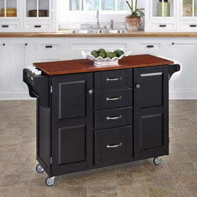 Home Styles Grand Torino Black Kitchen Island With Seating ...