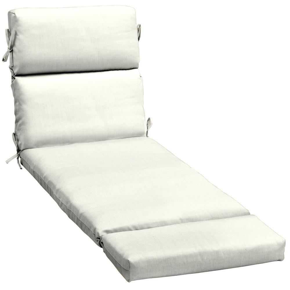 The Home Depot Decorators Collection 23 X 48 Outdoor Chaise Lounge Cushion In  Sunbrella Canvas White