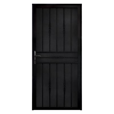 Unique Home Designs 36 in. x 80 in. Cottage Rose Black Recessed Mount Steel Security Door with ...