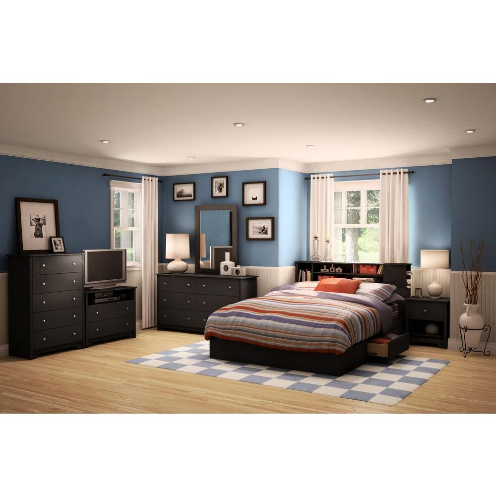White South Shore Vito Storage Bed Pure Black Queen Size Storage Bed Frame  Singapore Queen Size