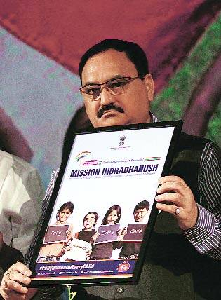 March 2015. J P Nadda at launch of Mission Indradhanush.(Express Photo by: Prem Nath Pandey)