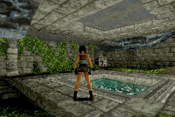 Tomb Raider, 1996, Jeremy H. Smith, executive producer; Toby Gard, Heather Gibson, Neal Boyd, graphic artists; Jason Gosling, Paul Douglas, Gavin Rummery, programmers, SEGA Saturn, © 1996 SQUARE ENIX CO., LTD. All Rights<br /><br /> Reserved