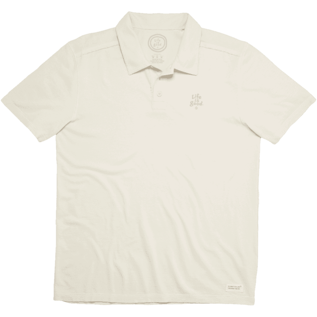 Lifeisgood Men's Crusher Polo Shirt, White, L