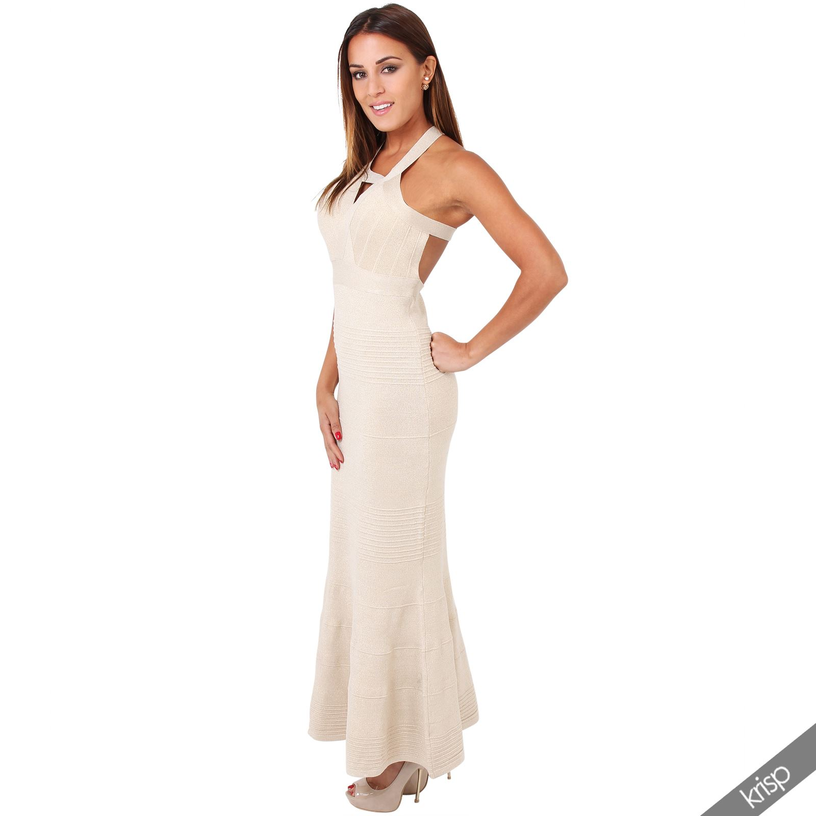 bodycon wedding dress Womens Shiny Strappy Bandage Halterneck Fishtail Bodycon Maxi