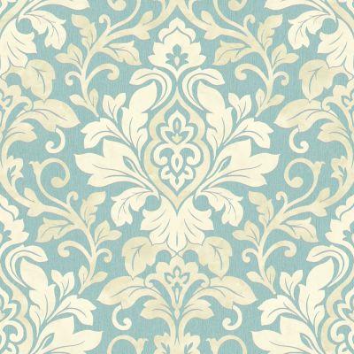 Teal / Silver / Cream - 414604 - Mozart - Damask - Arthouse Wallpaper