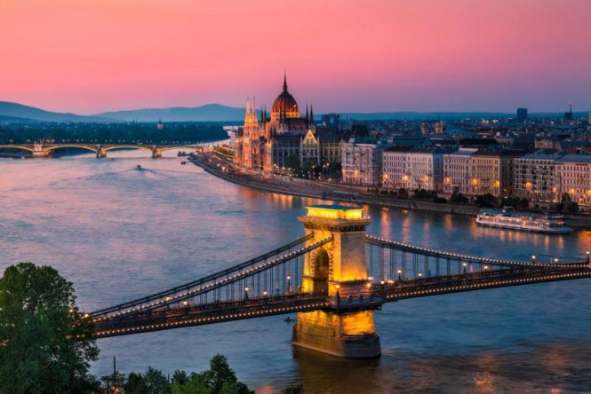 Chain Bridge and the Parliament in Budapest, Hungary