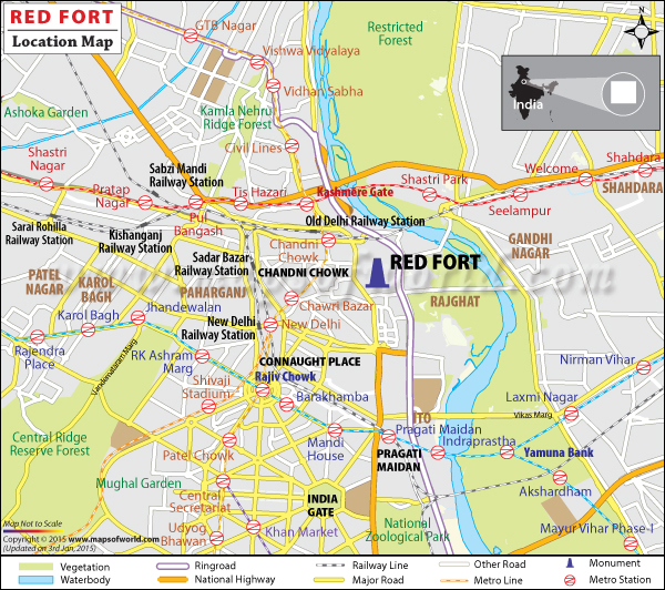 Location map of Red Fort
