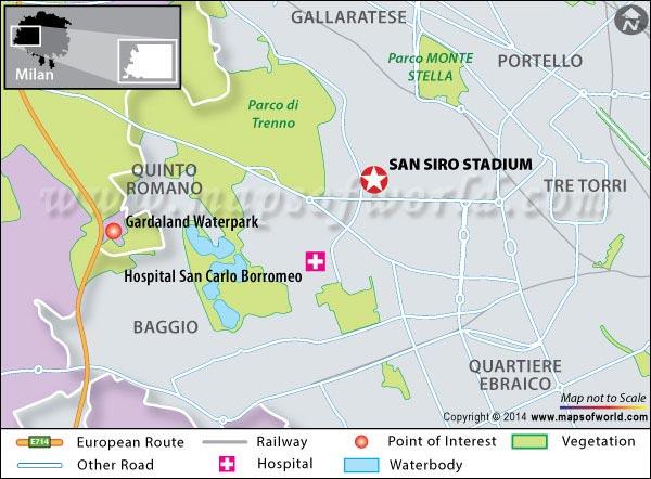 Location Map of San Siro Stadium