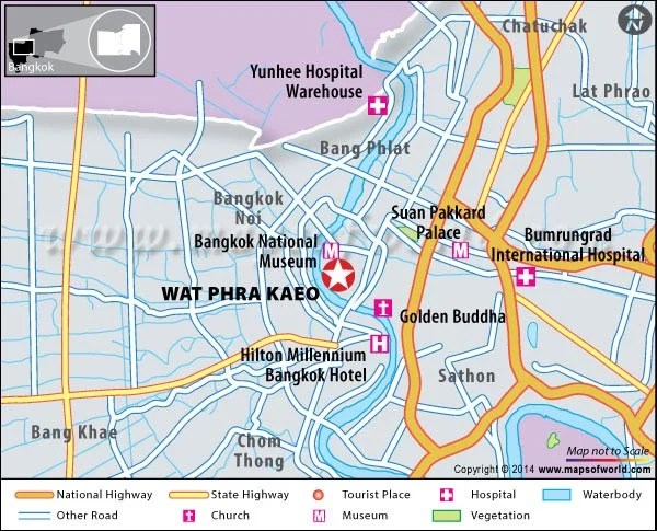 Location Map of Wat Phra Kaeo