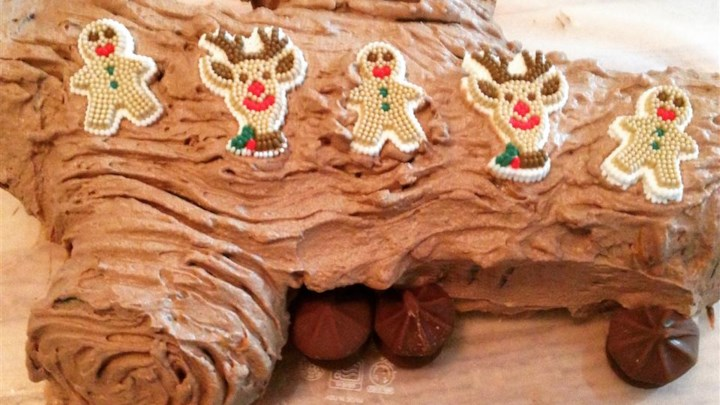 Paleo No-Bake Chocolate Yule Log with Chocolate Mushrooms