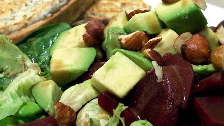 Paleo Tricolore Salad of Endive, Beet, and Arugula, Pantzaria Salata