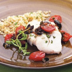 Engaging Warm Tapenade Recipe Eatingwell How Long To Bake Cod At 425 How Long To Bake Cod Fillets At 375 Roasted Cod Warm Tapenade Roasted Cod