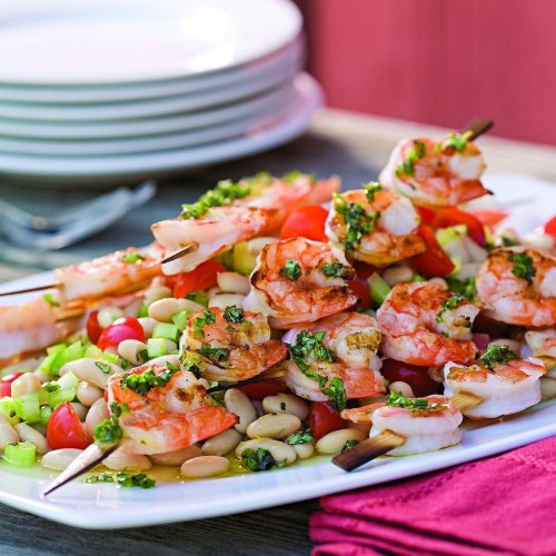 Ideal Grilled Shrimp Skewers Over Bean Salad Grilled Shrimp Skewers Over Bean Salad Recipe Eatingwell How Long To Grill Shrimp On Stove How Long To Grill Shrimp Foil