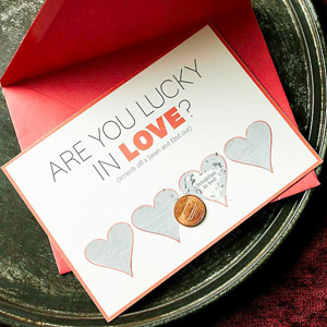 Scratch off card for love