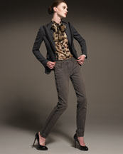 D & G One-Button Twill Blazer, Long-Sleeve Chiffon Blouse & Classic Jeans ON fdm FASHIONDAILYMAG.COM