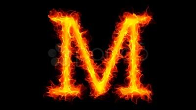 Fire letter M HD ~ HD & 4K Stock Footage #886673 | Pond5