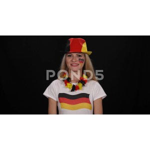 Nifty Happy German Supporter Woman Welcome Saluting Smiling Germany Team Offootball Footage Happy German Supporter Woman Welcome Saluting Smiling Germany Team