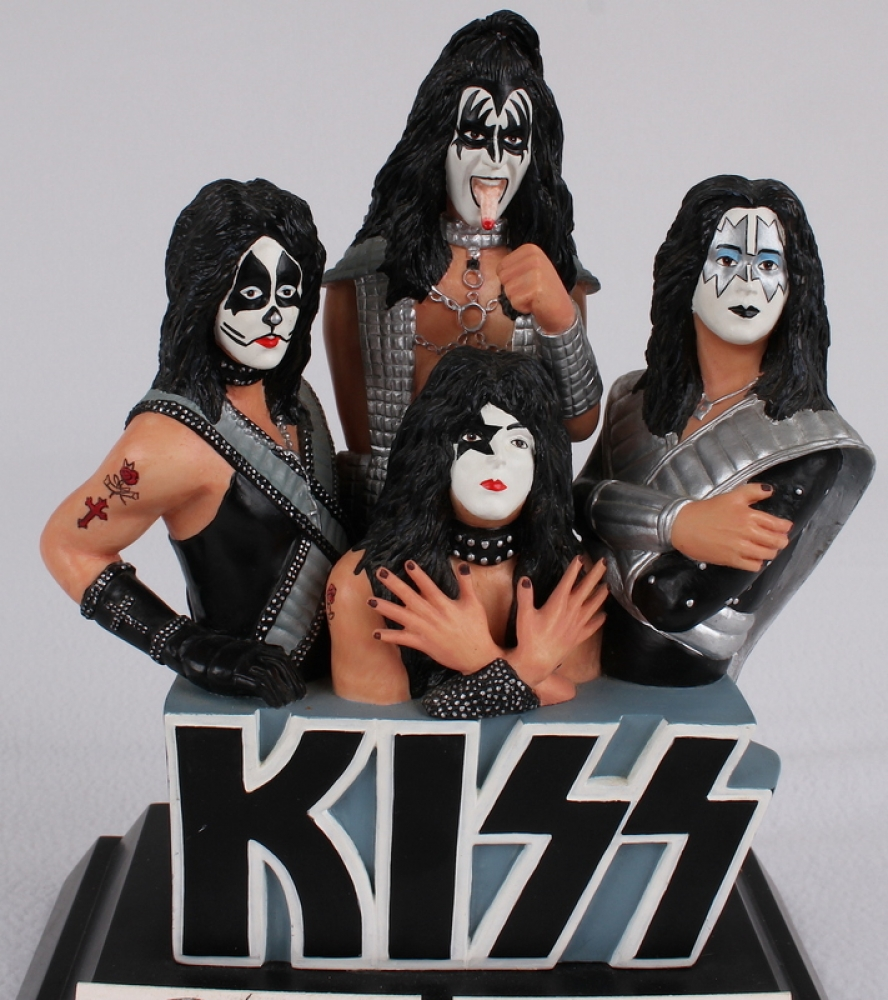 Online Sports Memorabilia Auction   Pristine Auction Kiss Band Figurine Signed By  4  With Gene Simmons  Paul Stanley  Peter