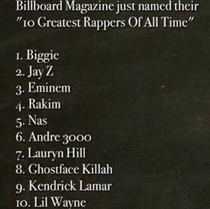 Billboard's '10 Greatest Rappers of All Time'