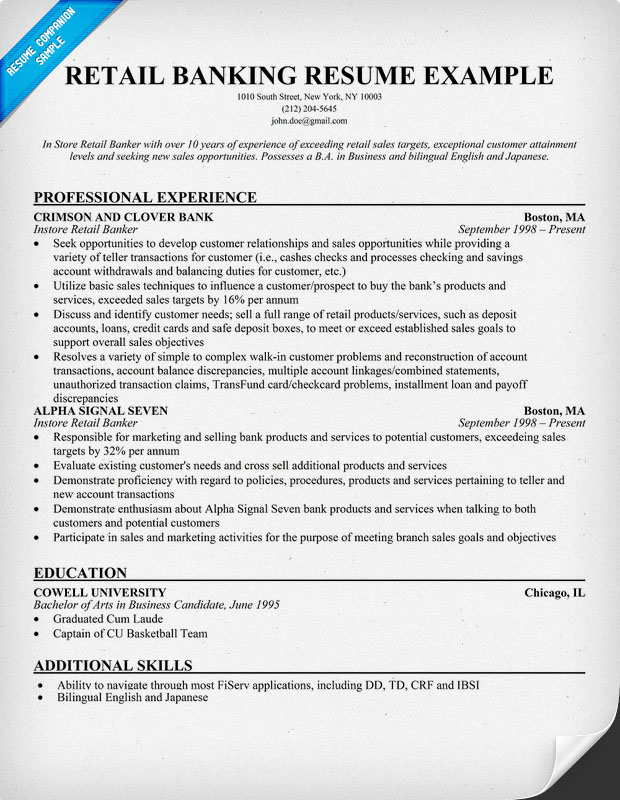 Banker resume examples