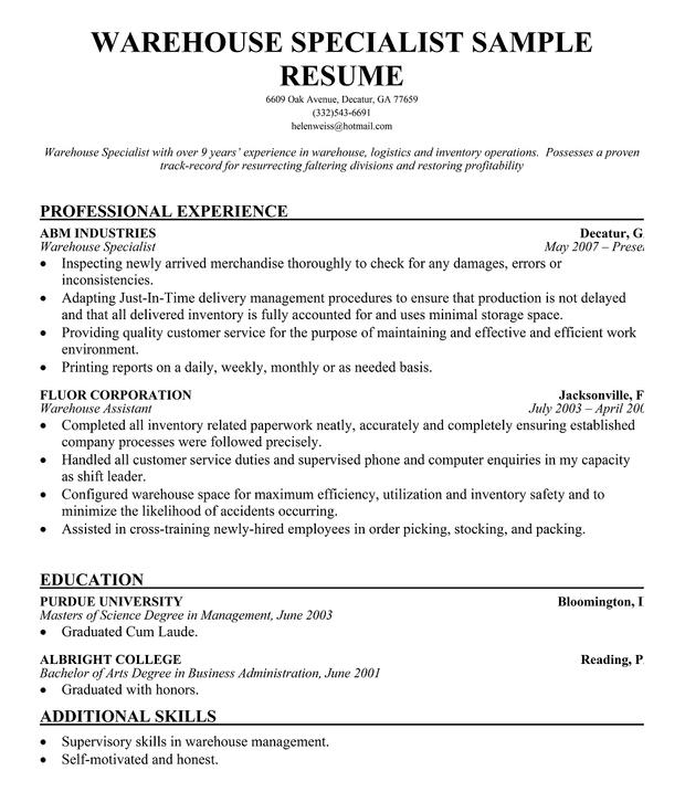Data Warehouse Resume Sample – Resume Objective for Warehouse Worker