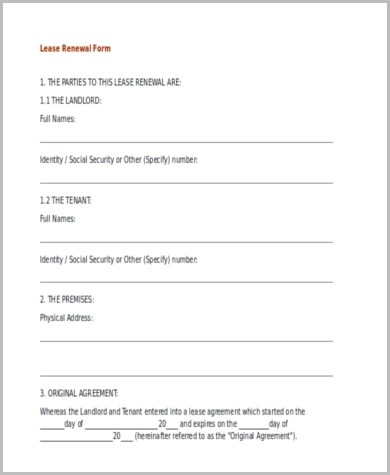 Lease Renewal Form Sample - 9+ Free Documents in Word, PDF