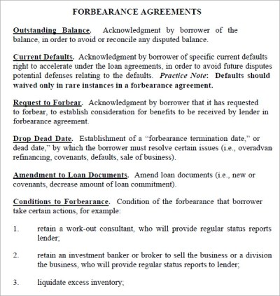 8 Sample Forbearance Agreement Templates to Download   Sample Templates
