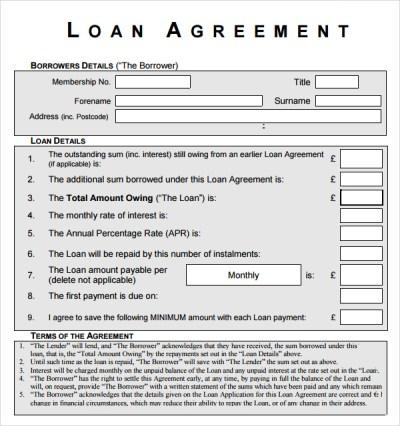 10+ Sample Standard Loan Agreement Templates | Sample Templates