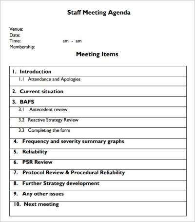 6+ Staff Meeting Agenda Samples   Sample Templates