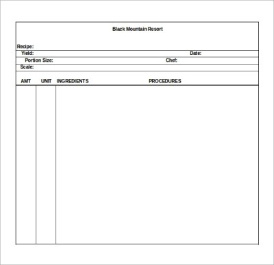 Sample Blank Recipe Template - 9+ Download Documents in PDF, PSD, Vector EPS