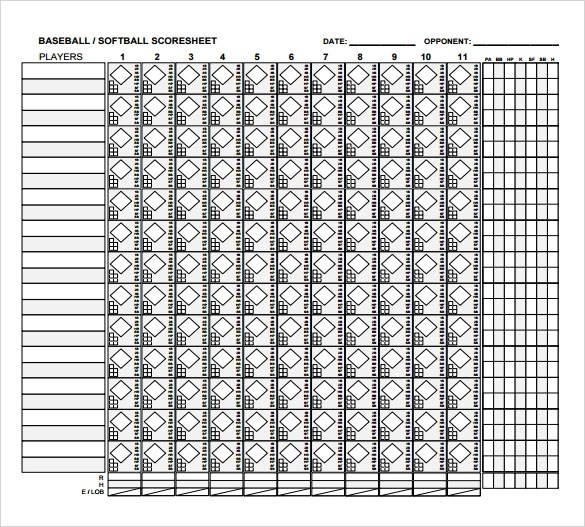 Captivating ... Printable Blank Number Line Pdf Printable Editable Blank U2013 Baseball  Score Sheet Template ...