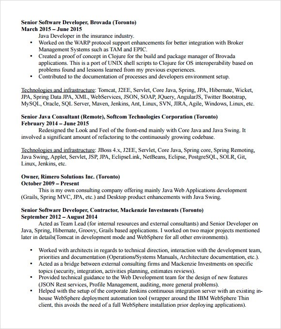 Resume Core Java Developer Resume Example sample java developer resume and free templates manisha bi it officer james