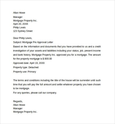 Sample Pre-Approval Letter - 8+ Download Free Documents in Word , PDF
