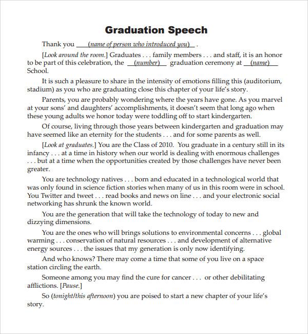 Graduation Ceremony Speech Essay