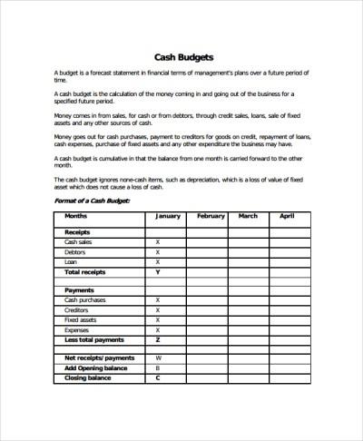 8+ Cash Budget Templates | Sample Templates