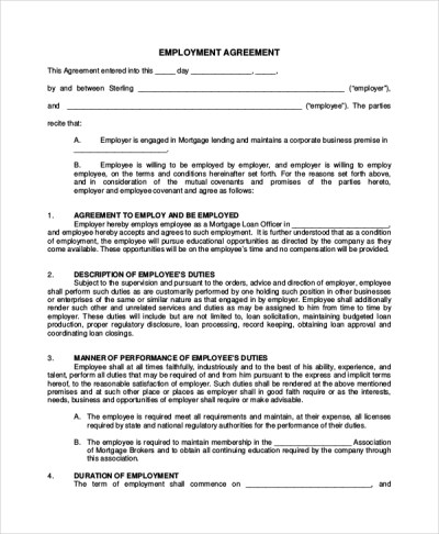 7+ Sample Real Estate Employment Agreements | Sample Templates