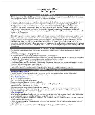 8+ Loan Officer Job Description Samples   Sample Templates