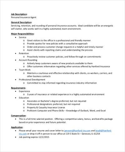 7+ Insurance Agent Job Description Samples | Sample Templates